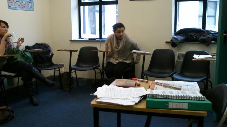 A sala de aula.