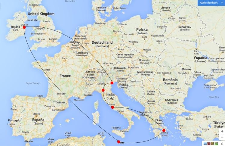 Dublin/Veneza/Florença/Roma/Athenas/Malta/Dublin
