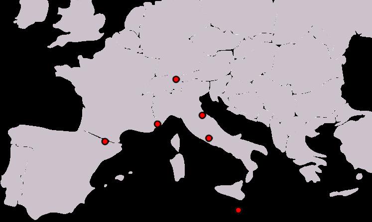 Em ordem: Andorra, Mônaco, Liechtestein, San Marino, Vaticano e Malta