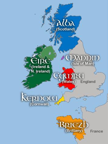 Reino Unido e Irlanda em seus respectivos nomes célticos